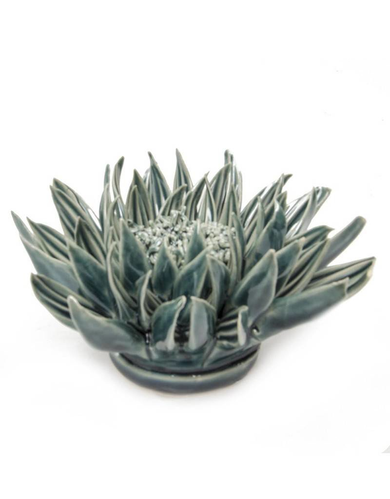 Chive Coral Ceramic Flower Teal Large