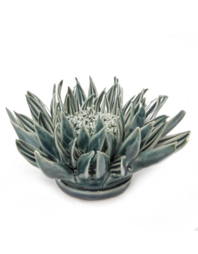 Coral Ceramic Flower Teal Large