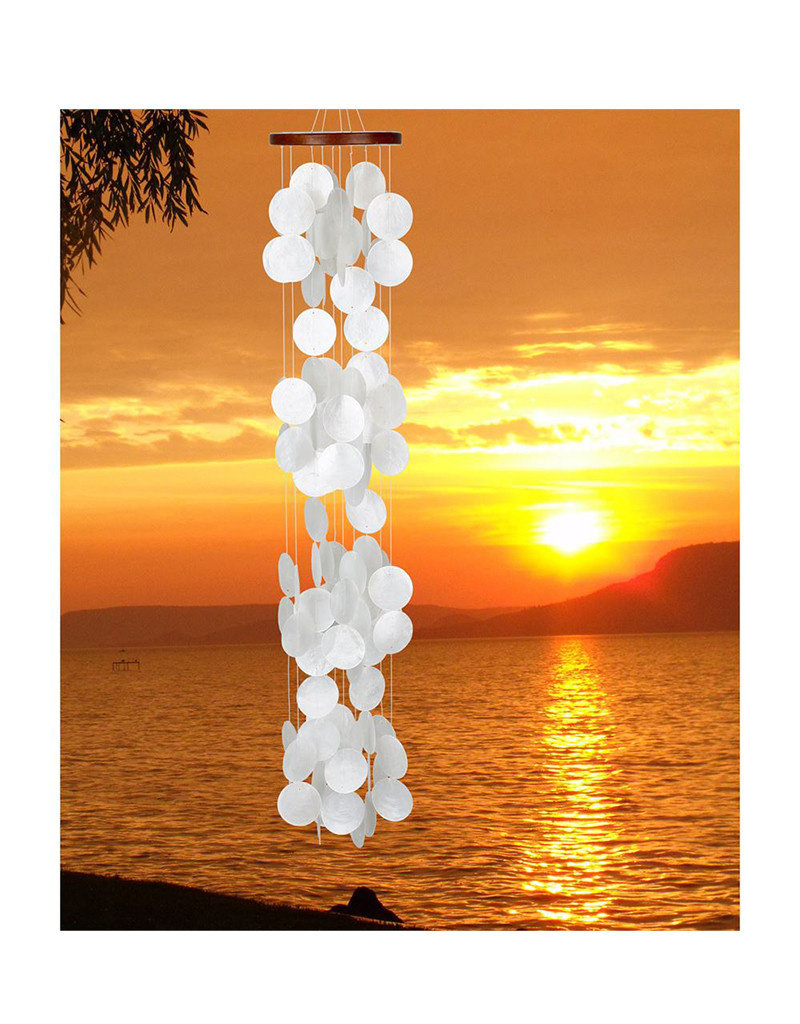 Capiz Waterfall Windchime Blanca