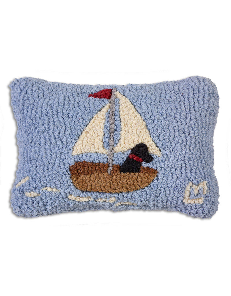 Skiff Sailing Lab Hand Hooked Pillow