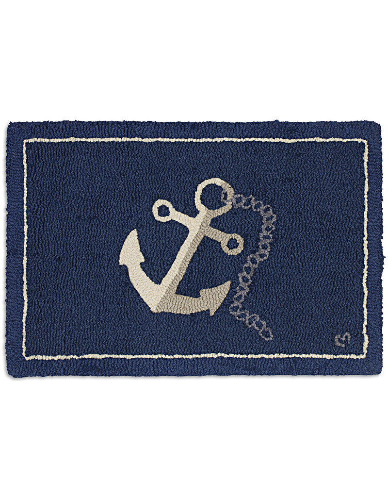 Chandlers 4 Corners Anchor and Chain Hand Hooked Rug
