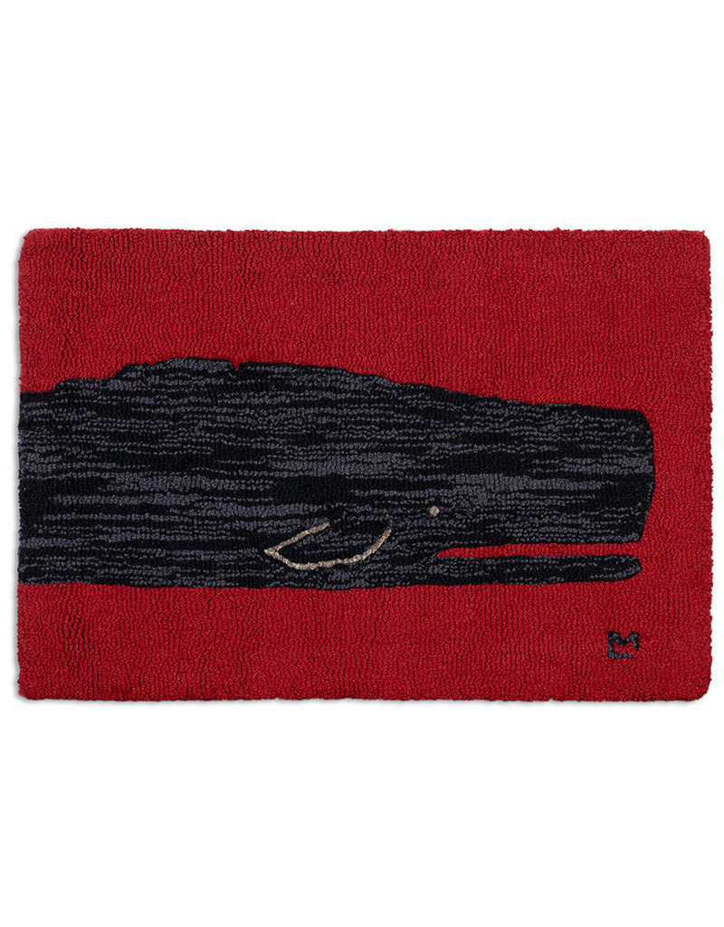 Black Whale on Red Hand Hooked Rug