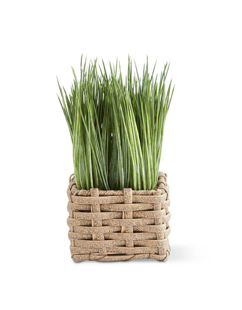 Faux Grass in Square Basket