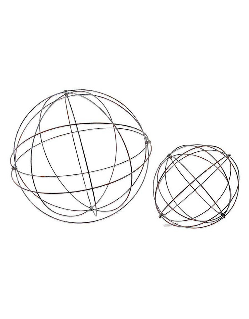 Decorative Metal Sphere Orbs Set of 2