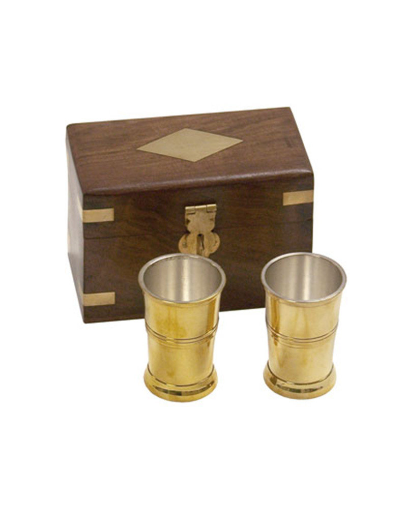 Brass Rum Cups in Wooden Box