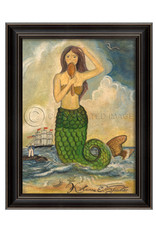 Mermaid Looking in Mirror Framed Print