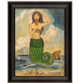 Mermaid Looking in Mirror Framed Print