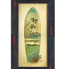 Small Palm Surfboard Framed Print
