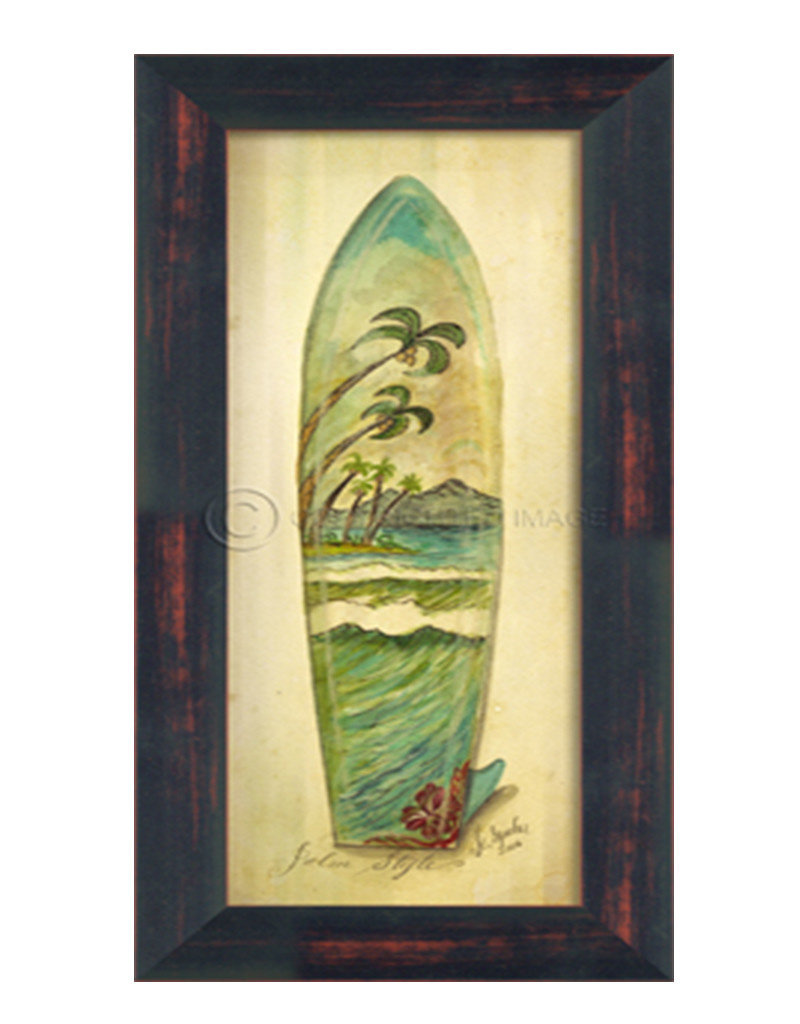 Small Palm Surfboard Framed Print