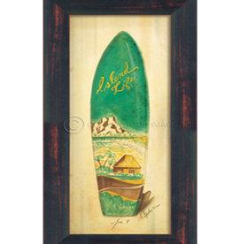 The Artwork of Kolene Spicher Small Island Life Surfboard Framed Print