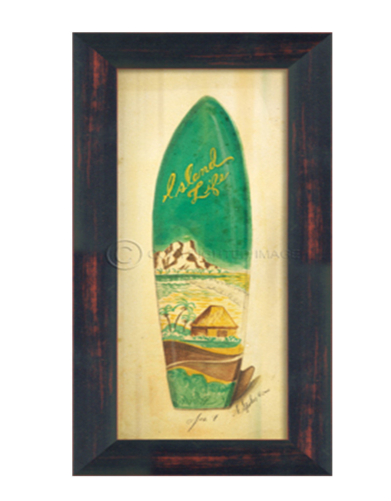 Small Island Life Surfboard Framed Print