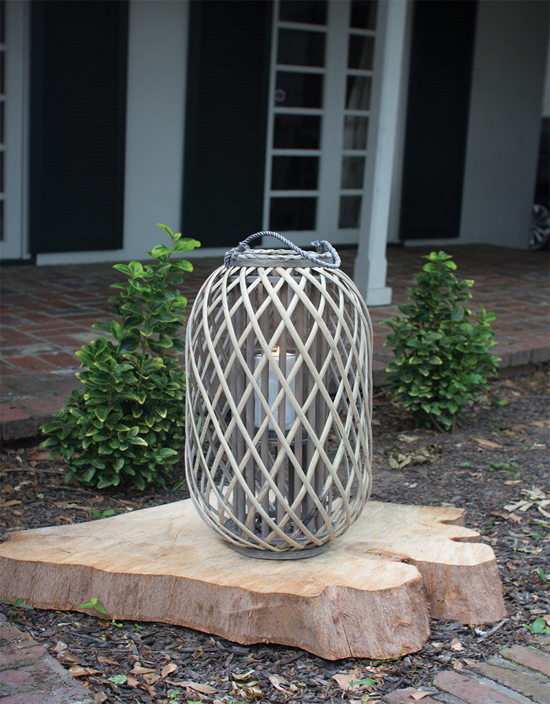 Grey Willow Lantern with Glass Small