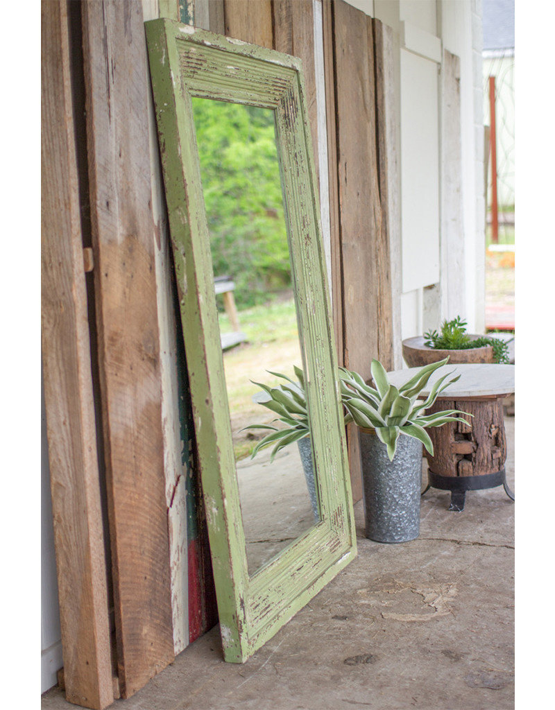 Distressed Green Wood Framed Mirror