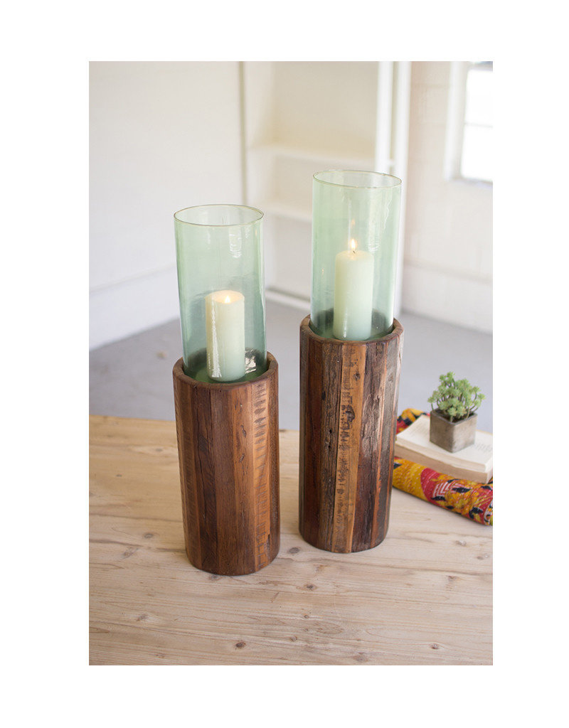 Set of 2 Recycled Wood Pedestals with Glass Hurricanes