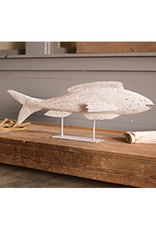 Antique White Metal Fish on Stand