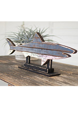 Recycled Painted Wooden Shark on Stand