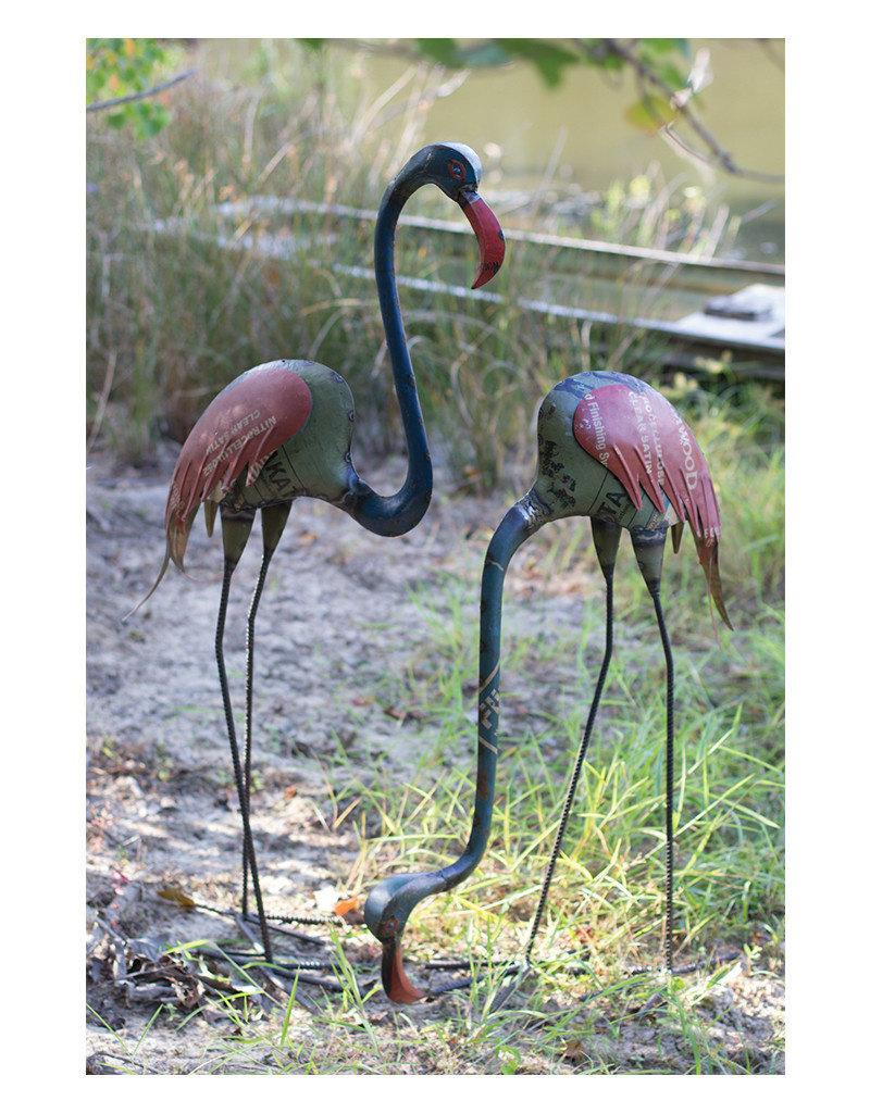 Set of 2 Recycled Metal Flamingos