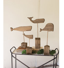 Recycled Wooden Whales Set of 4