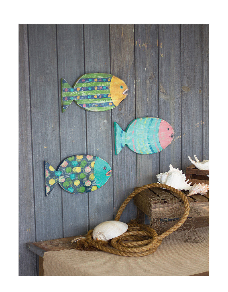 Colorfully Painted Wooden Fish Set of 3