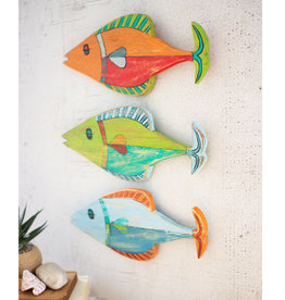 Painted Wooden Fish Set of 3