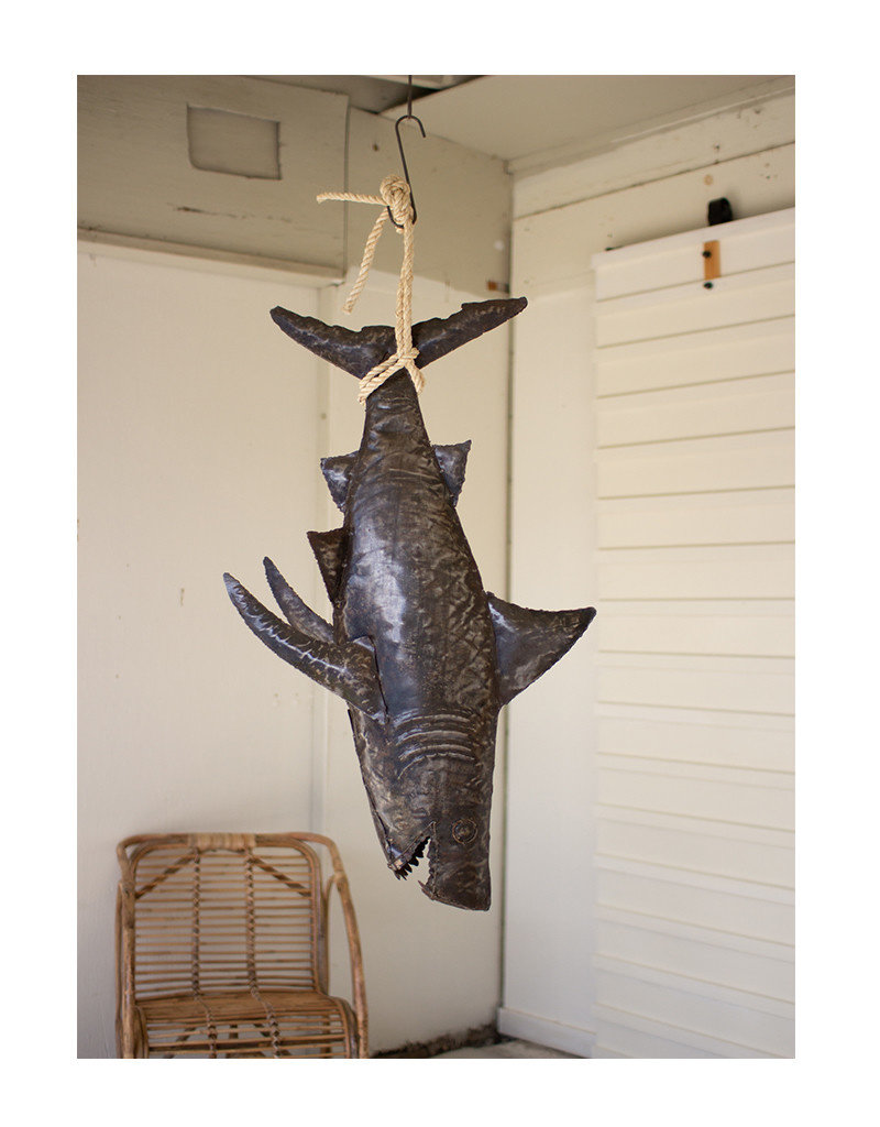 Rustic Metal Shark on Rope
