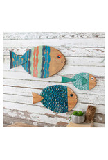 Painted Wooden Sun Fish Set of 3