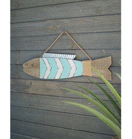 Large Painted Wooden Fish