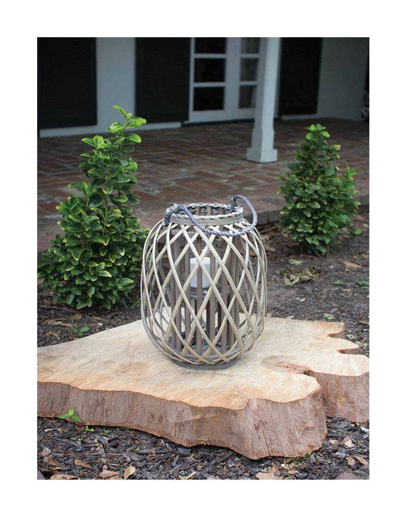 Grey Willow Lantern with Glass