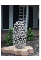 Tall Grey Willow Lantern with Glass