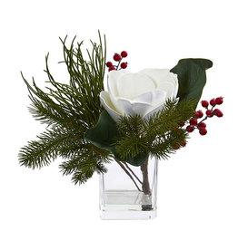 Magnolia & Berries Artificial Arrangement in Vase