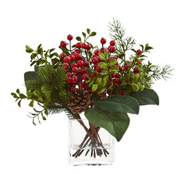 Berry, Pine and Boxwood Artificial Arrangement