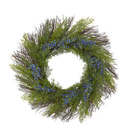 Cedar with Blue Berries Artificial Wreath