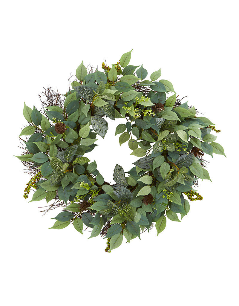 Mix Royal Ruscus, Fittonia and Berries Artificial Wreath