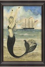 Black Pearl Oyster Lounge Mermaid Framed Print