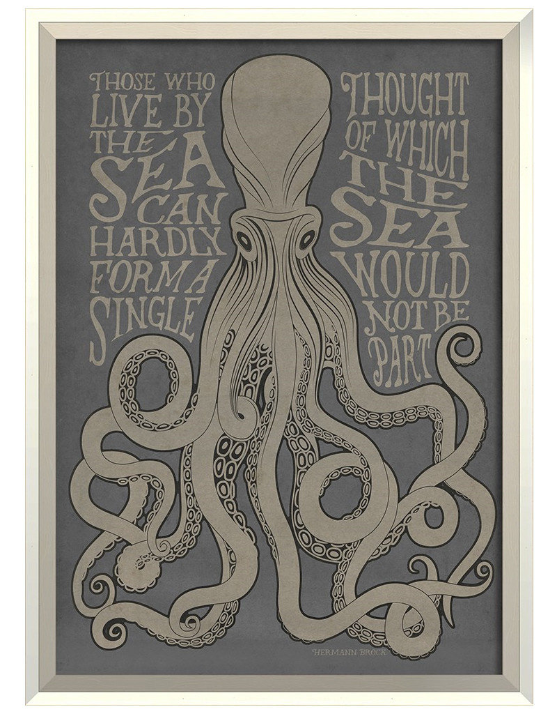 Those Who live by the Sea on Gray Framed Print