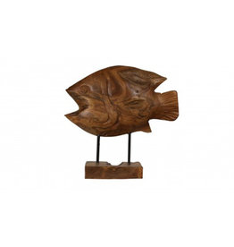 Teak Discus Fish on Stand