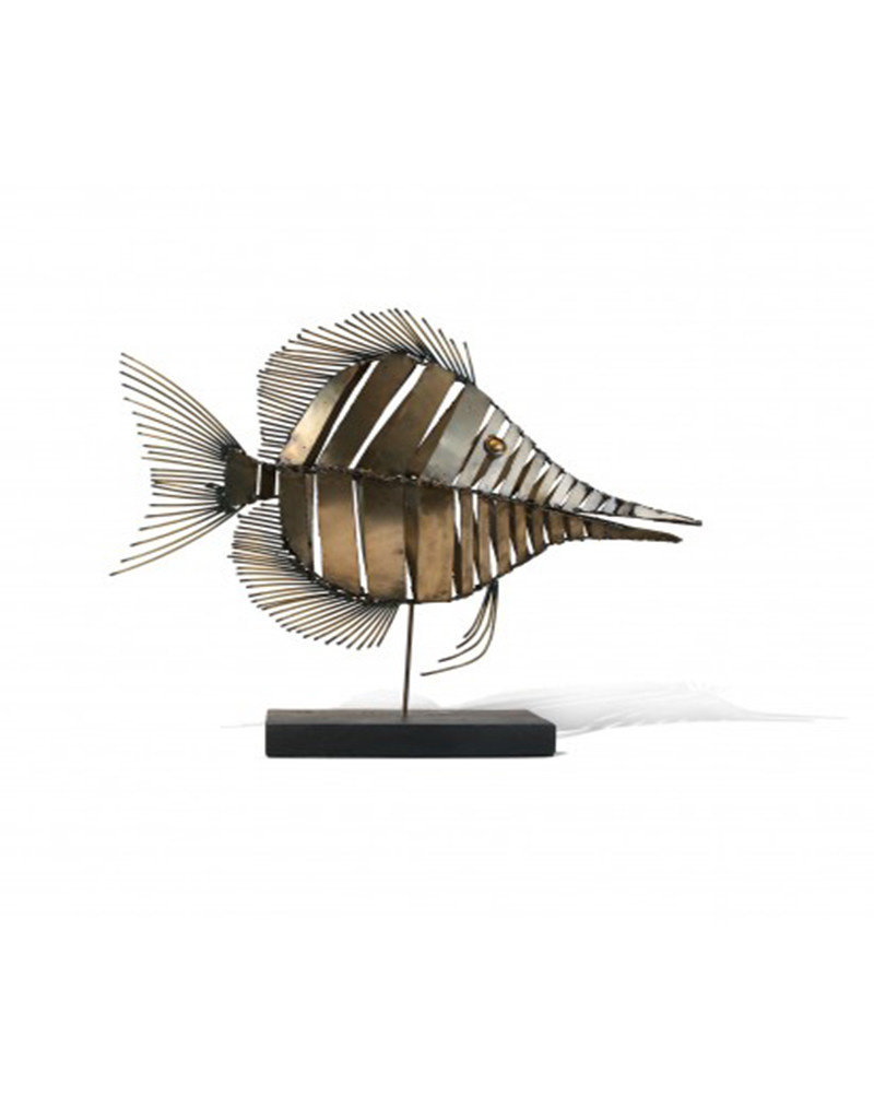 Tang Fish Metal Sculpture on Stand
