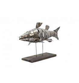 Fish of Armor Metal Sculpture on Stand