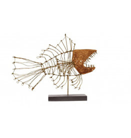 Big Mouth Fish Wire Sculpture on Stand