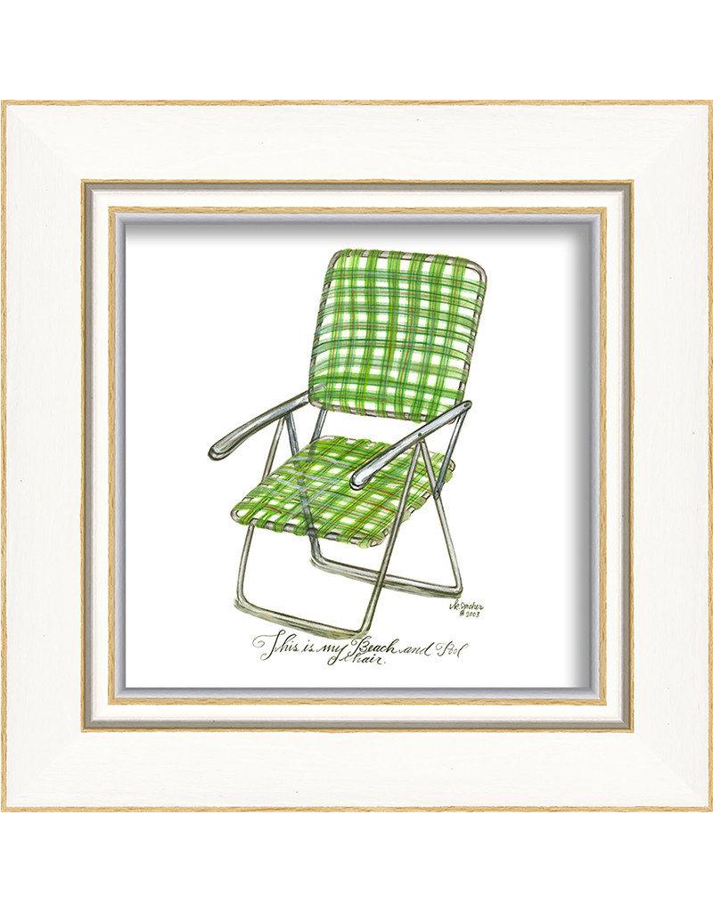 Green Beach Chair Framed Print