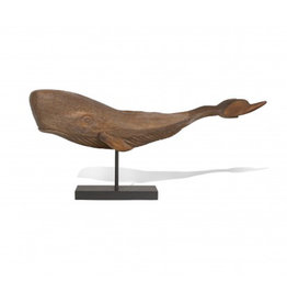 Wood Whale on Stand Large
