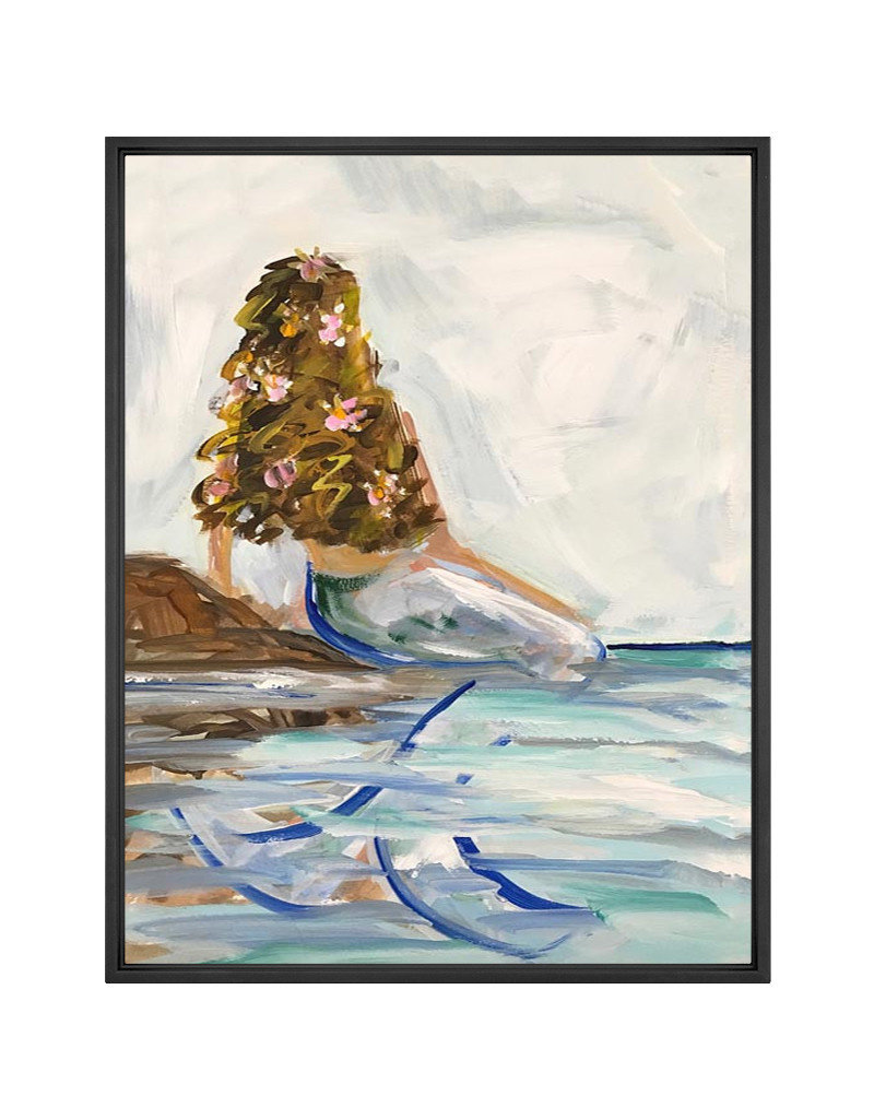 Brunette Mermaid In the Sea Canvas Print