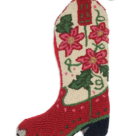 Chandlers 4 Corners Poinsettia Cowboy Boot Hooked Wool Christmas Stocking