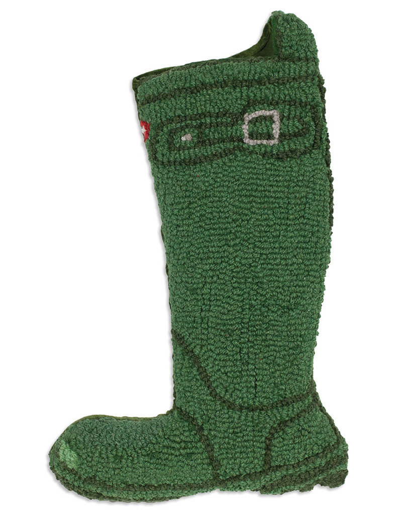 Green Wellie Boot Hooked Wool Christmas Stocking