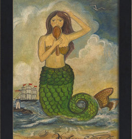 The Artwork of Kolene Spicher Mermaid Looking in Mirror Green Tail Framed Print