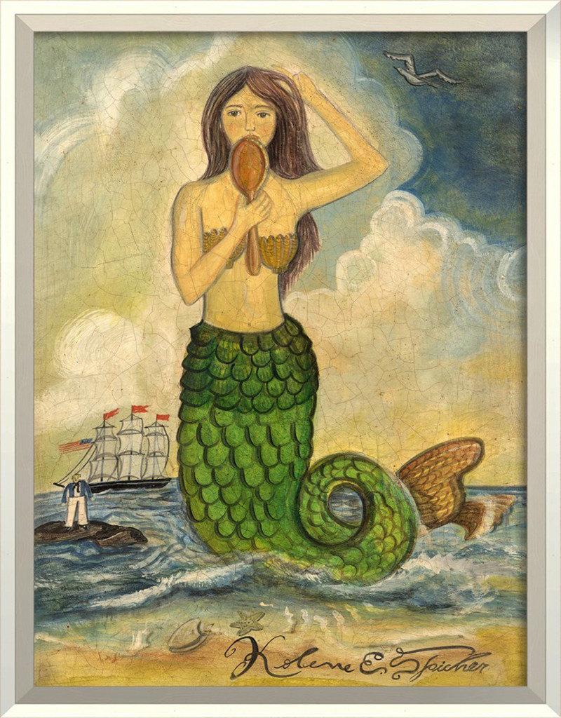 The Artwork of Kolene Spicher Mermaid Looking in Mirror Green Tail Framed Print