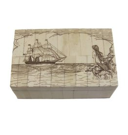 Mermaid Watching Scrimshaw Bone Box