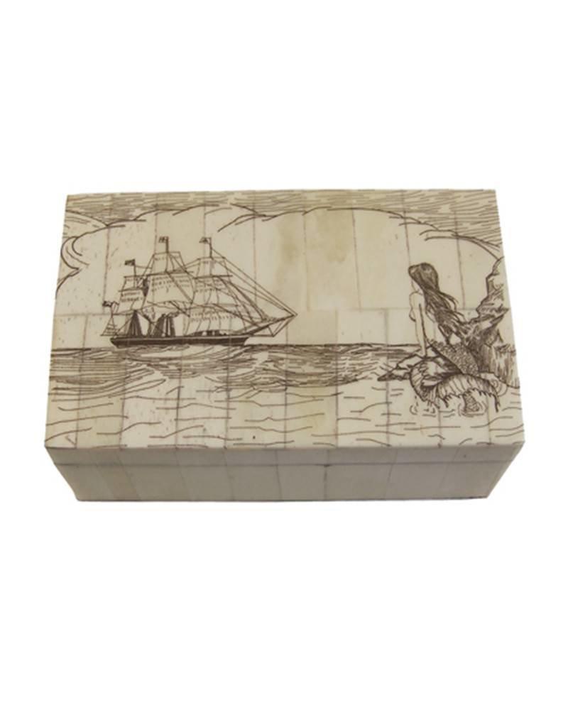 Mermaid Watching Scrimshaw Bone Box