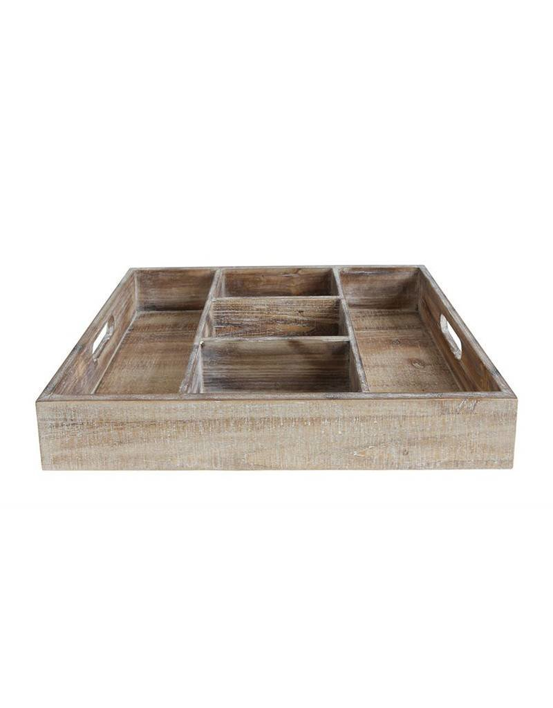 Decorative Wood Tray with Five Compartments
