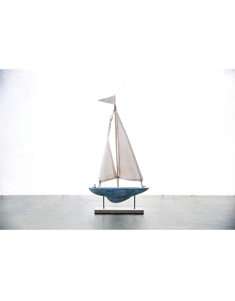 Cement and Fabric Sail Boat On Stand